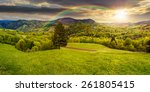 panoramic composite landscape. hillside of mountain range with coniferous tree on a green valley in sunset light with rainbow - stock photo