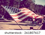 American flag. 4th of july city ...