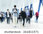 motion blurred commuters in... | Shutterstock . vector #261811571