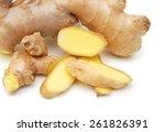 fresh ginger on a white... | Shutterstock . vector #261826391