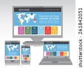 flat web design in responsive... | Shutterstock .eps vector #261842051