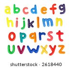 Colorful alphabet made from plasticine (isolated on white).  All letters are in lower case. Use it to make your own message - stock photo