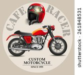 cafe racer style motorbike with ... | Shutterstock .eps vector #261848531