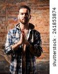 attractive young guy posing in... | Shutterstock . vector #261853874