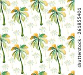 watercolor palm seamless... | Shutterstock . vector #261855401