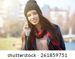 young beautiful smiling woman... | Shutterstock . vector #261859751