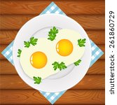 freshly cooked two eggs with...   Shutterstock .eps vector #261860729