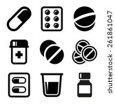pills and capsules icons set | Shutterstock .eps vector #261861047