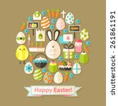 easter greeting card with flat...