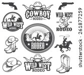set of vintage rodeo emblems ... | Shutterstock .eps vector #261877259