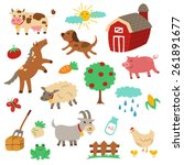 farm animals vector set....   Shutterstock .eps vector #261891677