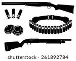 Set Of Vector Shotgun And...