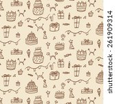 birthday cakes  gifts pattern | Shutterstock .eps vector #261909314