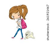 Stock vector girl walking with dog vector illustration 261921467