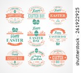set easter holiday typography.... | Shutterstock .eps vector #261922925