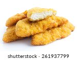 golden fried chicken strips on... | Shutterstock . vector #261937799