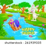 happy easter holiday... | Shutterstock .eps vector #261939335