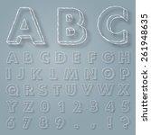 handwritten alphabet with... | Shutterstock .eps vector #261948635