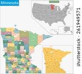 map of minnesota state designed ... | Shutterstock .eps vector #261949571
