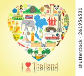 thailand love. set vector icons ... | Shutterstock .eps vector #261956531