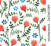seamless floral pattern with... | Shutterstock .eps vector #261961589