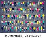 multiethnic casual people... | Shutterstock . vector #261961994