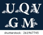 vintage floral alphabet set.... | Shutterstock . vector #261967745
