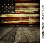 Wooden Floor And American Flag...