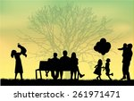 silhouette of people on the... | Shutterstock .eps vector #261971471