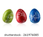 Three Color Easter Eggs In Line