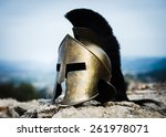 Spartan helmet on rocks