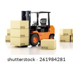 3d image. forklift truck with... | Shutterstock . vector #261984281