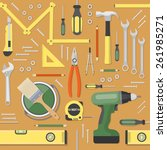diy and home renovation tools...   Shutterstock .eps vector #261985271