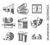 cinema icons set  megaphone ... | Shutterstock .eps vector #262004621