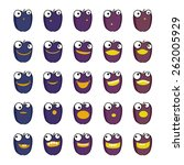 set of plums emoticons | Shutterstock .eps vector #262005929