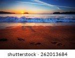 Trail Of Footprints Along A...