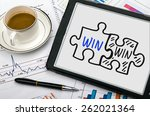win win concept hand drawing on ... | Shutterstock . vector #262021364