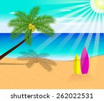 tropical beach with palm trees  | Shutterstock .eps vector #262022531