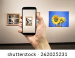 man photograph a painting at an ... | Shutterstock . vector #262025231