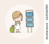 traveling  waiting for bus girl ... | Shutterstock .eps vector #262036985
