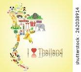thailand map. thai color vector ...   Shutterstock .eps vector #262038914