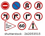 vector traffic signs isolated | Shutterstock .eps vector #262053515