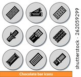 set of dark chocolate bar icons ... | Shutterstock .eps vector #262059299