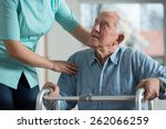 portrait of disabled senior in... | Shutterstock . vector #262066259