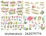 great set of flowers and labels. | Shutterstock .eps vector #262079774