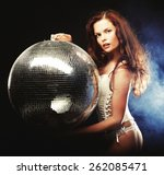 dancer girl in smoke with disco ... | Shutterstock . vector #262085471