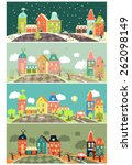 urban landscape of four seasons.... | Shutterstock .eps vector #262098149