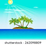 tropical beach with palm trees  | Shutterstock .eps vector #262098809