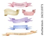 watercolor ribbons set. hand... | Shutterstock .eps vector #262113371