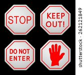 danger and caution street signs ... | Shutterstock .eps vector #262121849